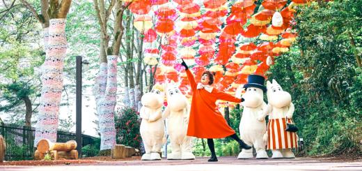 Một bầu trời màu sắc như cầu vồng được làm bằng ô – Khu vườn thần tiên của xứ sở Bắc Âu – Moomin Valley Park, Tokyo