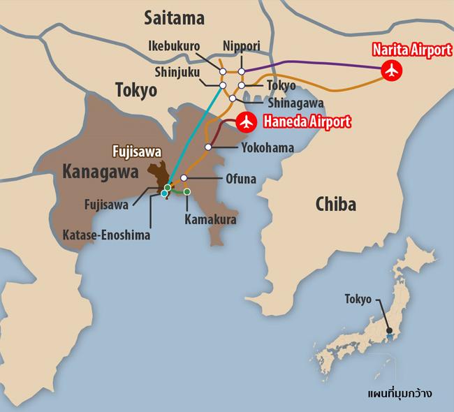 แผนที่ ที่ตั้งเมืองฟูจิซาวะ