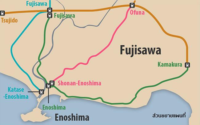 แผนที่ขยายเมืองฟูจิซาวะ